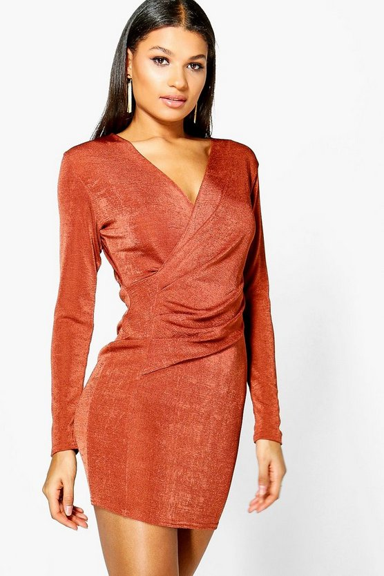 Larsa Textured Slinky Wrap Bodycon Dress