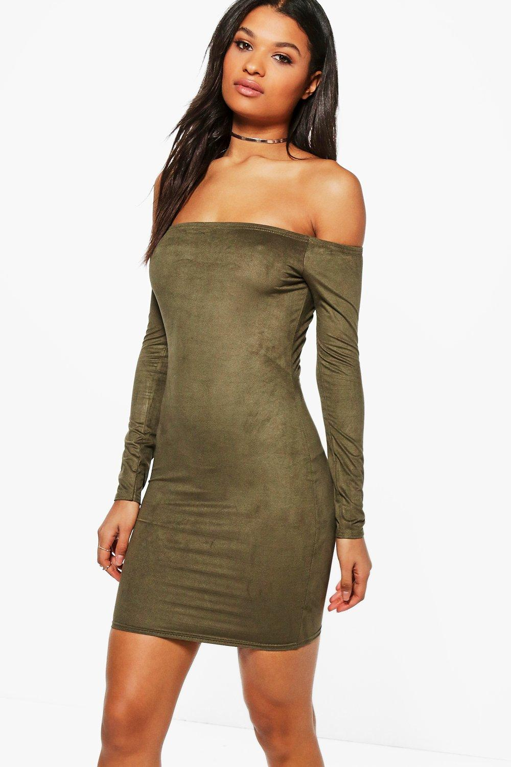 Wendy Suedette Off Shoulder Bodycon Dress