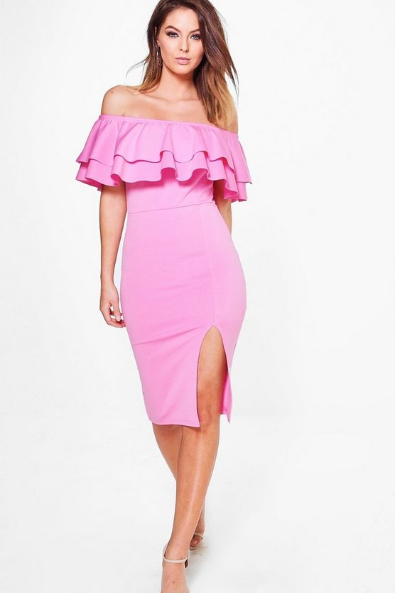 Leia Off Shoulder Double Frill Midi Bodycon Dress