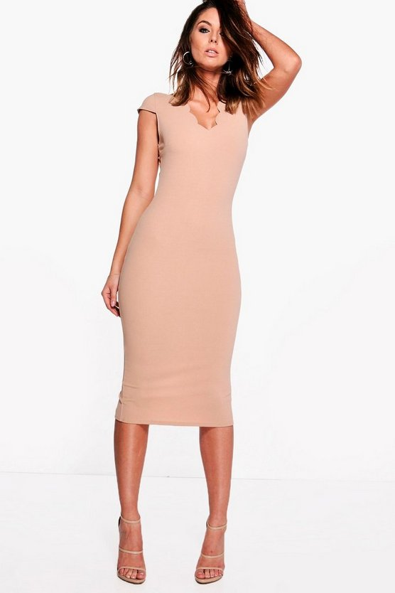 Loren Scallop Neck Cap Sleeved Midi Dress