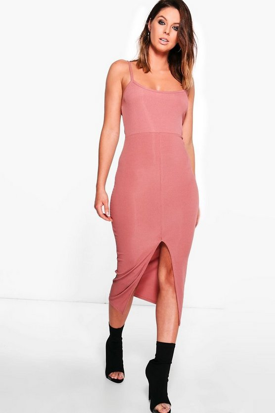 Lucie Ribbed Strappy Midi Bodycon Dress