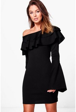 Fran Off One Shoulder Frill Bodycon Dress