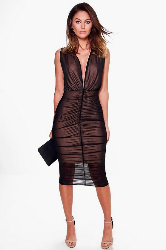 Ray Mesh Contrast Lining Ruched Midi Dress