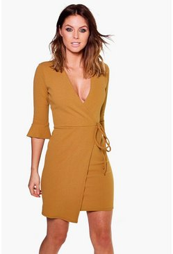 Nara Flute Sleeve Tie Wrap Bodycon Dress