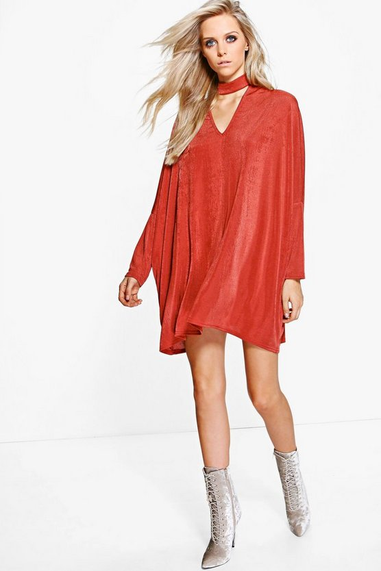 Hazel Slinky Oversized Choker Shift Dress