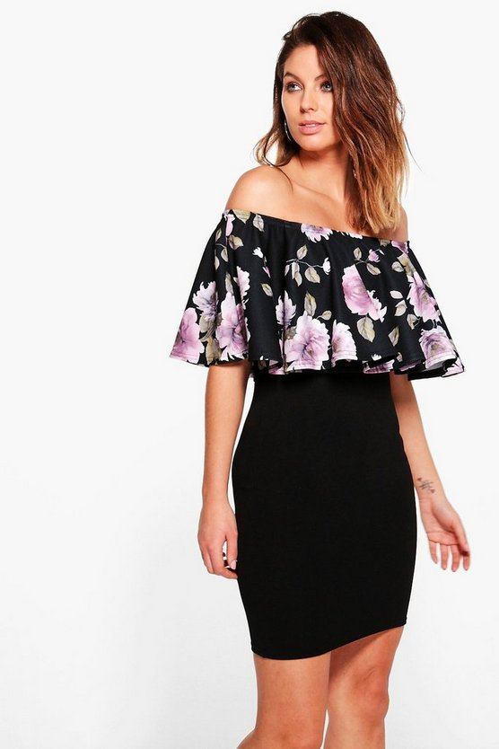Fia Floral Contrast Off Shoulder Bodycon Dress