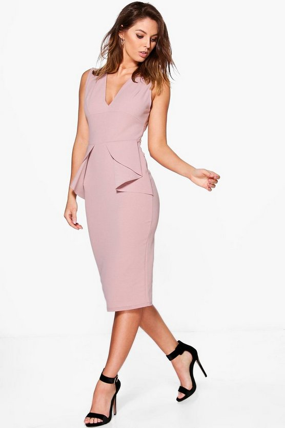 Ellie Fold Peplum Waist Formal Midi Dress