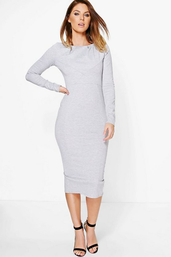 Ita Pleat Structured Top Detail Midi Dress