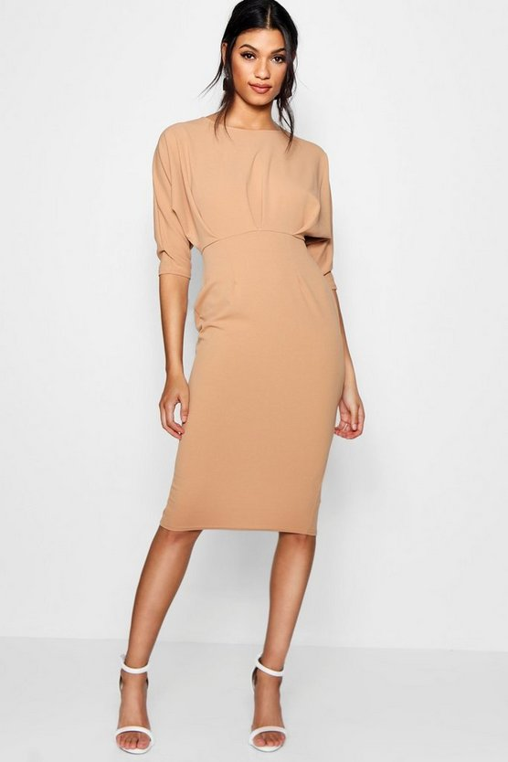 Melli Pleat Detail Batwing Pencil Midi Dress