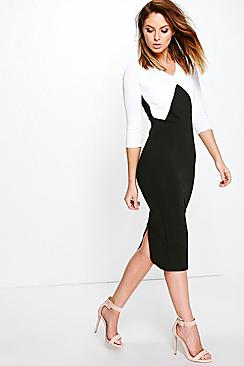 Ash Contrast Block Detail 3/4 Sleeve Midi Dress