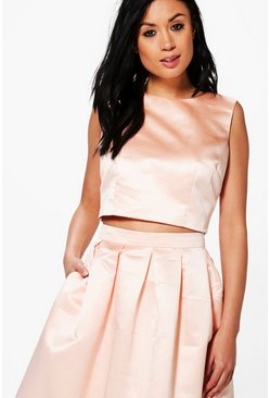 Amelia Boutique Satin Crop Top