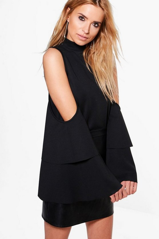 Charlotte Cold Shoulder Tiered Sleeve Top