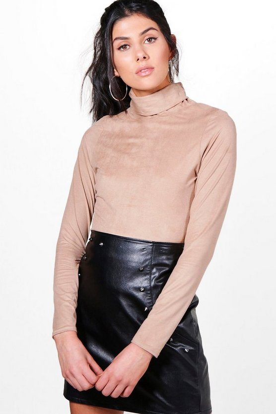 Holly Roll Neck Suedette Long Sleeve Top