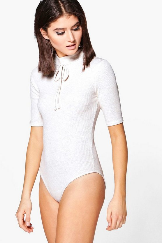 Emily High Neck Drawstring Rib Bodysuit