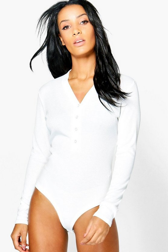 Bernadette Button Up Long Sleeve Bodysuit