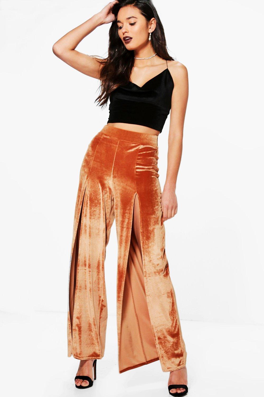 Split Front Velvet Wide Leg Trousers  copper