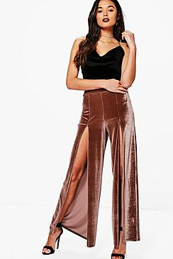 Imani Split Front Velvet Wide Leg Trousers