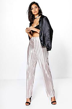 Lua Metallic Pleated Wide Leg Trousers