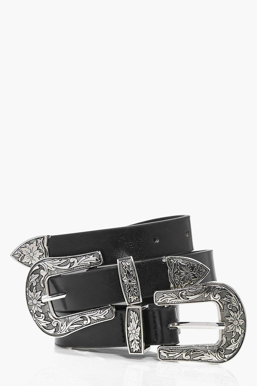 Floral Western Double Buckle Belt - black - Lauren