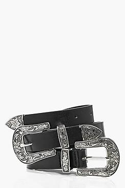 Lauren Floral Western Double Buckle Belt