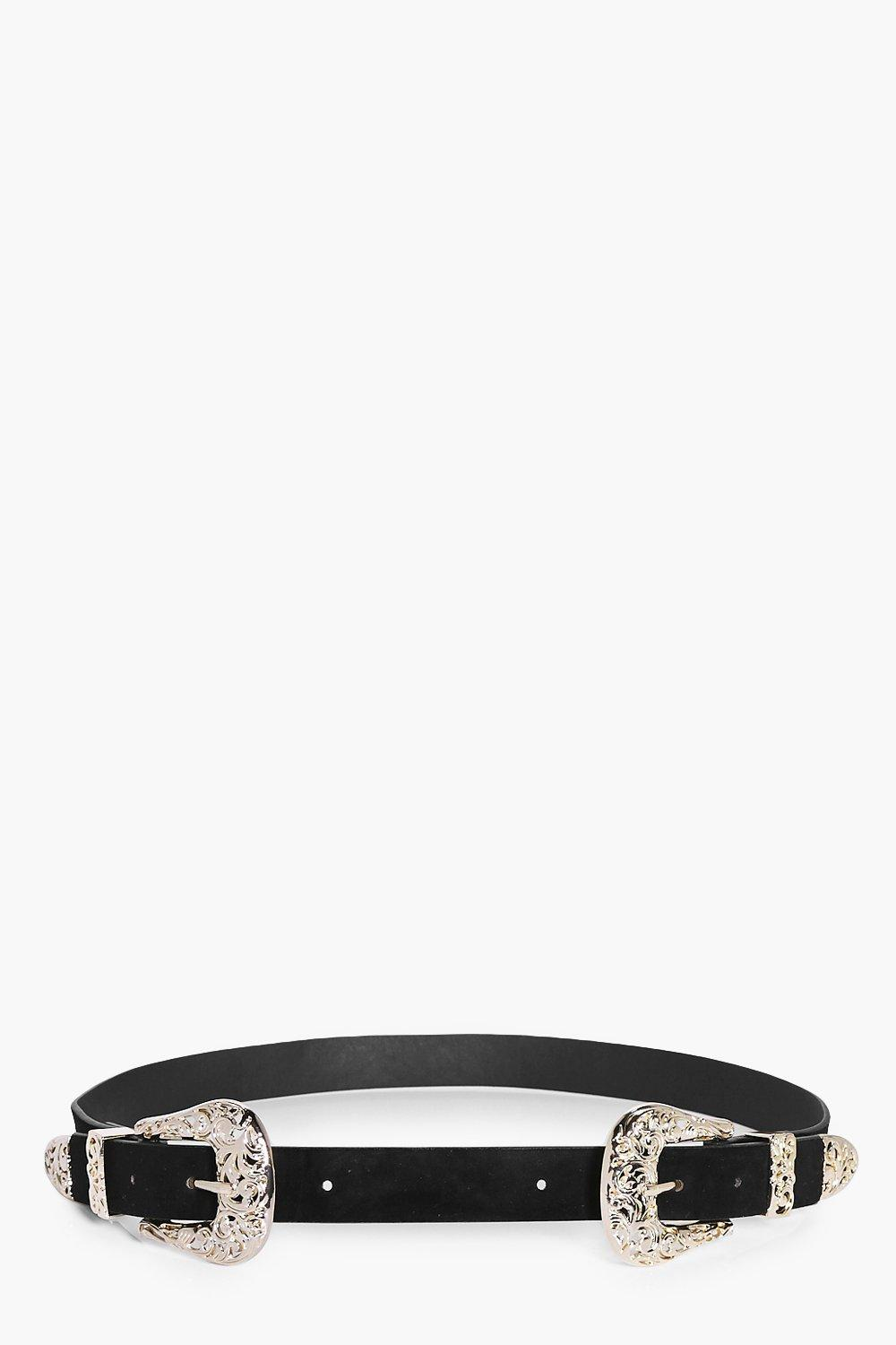 Filigree Double Buckle Western Belt - black - Orla