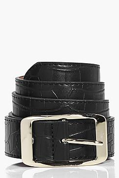 Lillie Mock Croc Boyfriend Belt