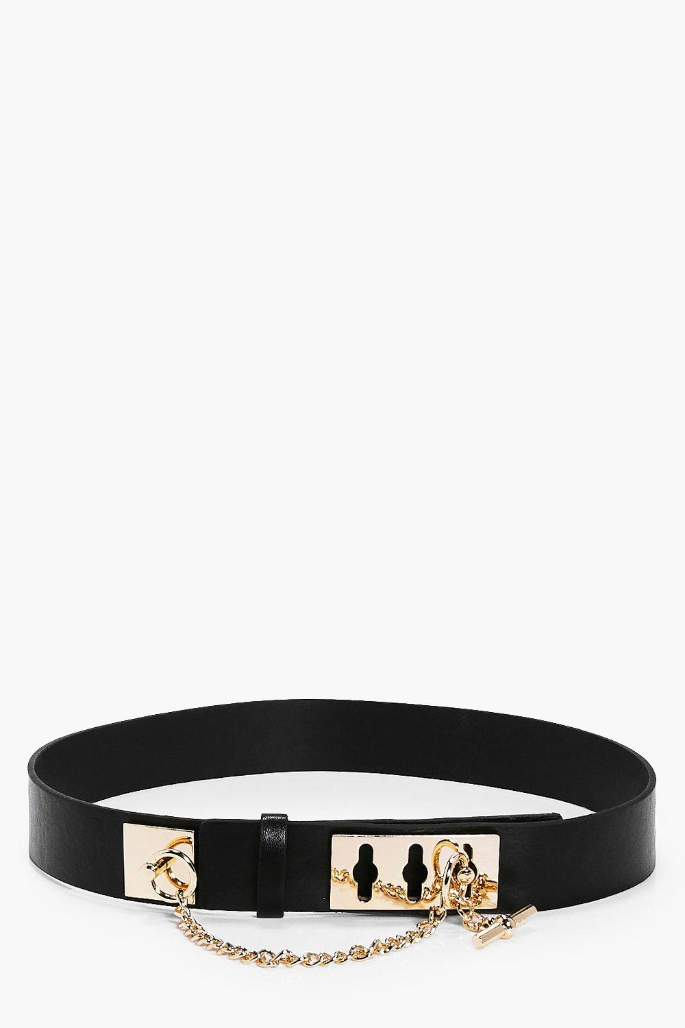 Chain Lock Waist Belt - black - Darcy Chain Lock W