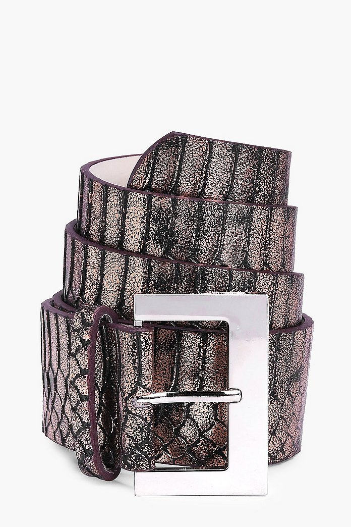 Harriet Metallic Faux Snake Boyfriend Belt