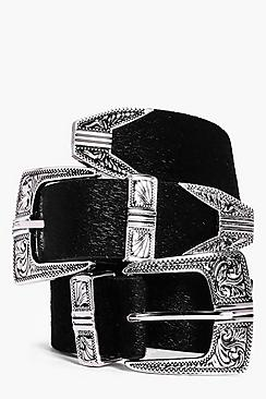 Julia Western Double Buckle Faux Pony Belt