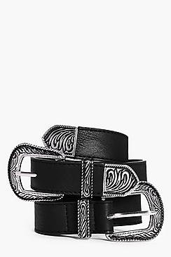 Rose Western Double Buckle Skinny Belt