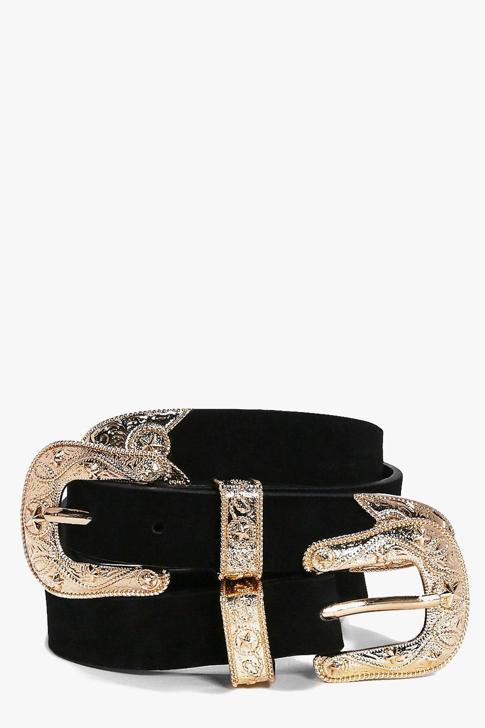 Suedette Double Buckle Star Western Belt - black -