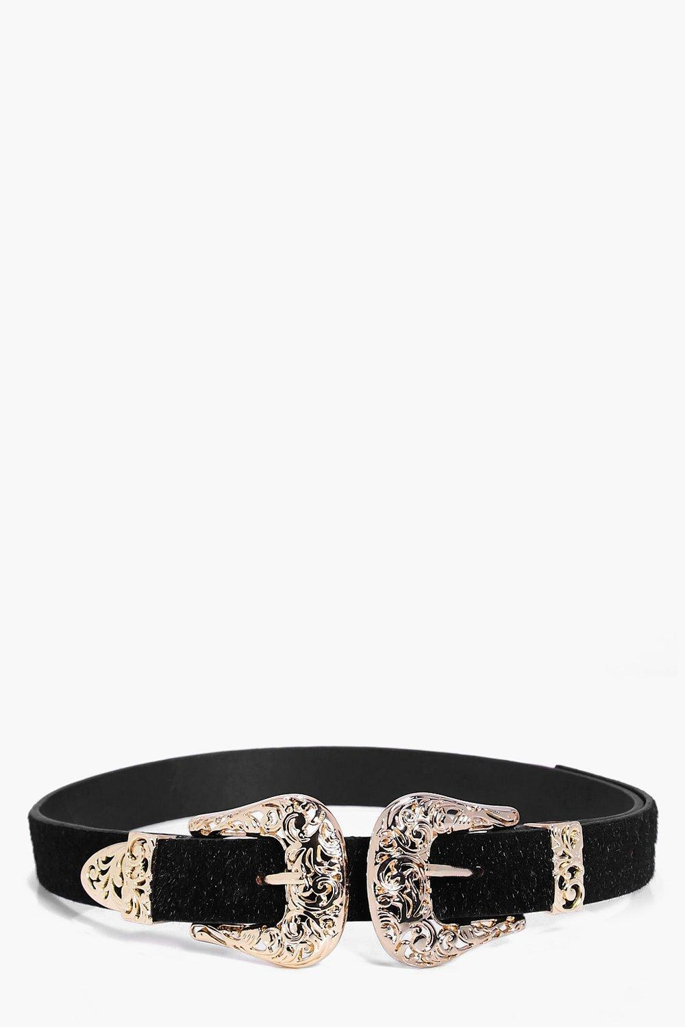 Filigree Double Buckle Faux Pony Belt - black - Pa