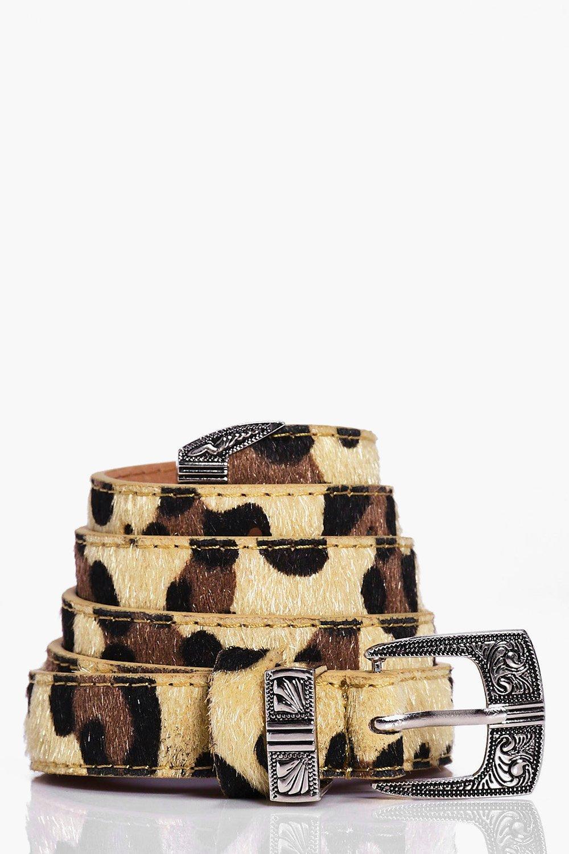 Faux Leopard Western Skinny Belt - leopard - Ameli