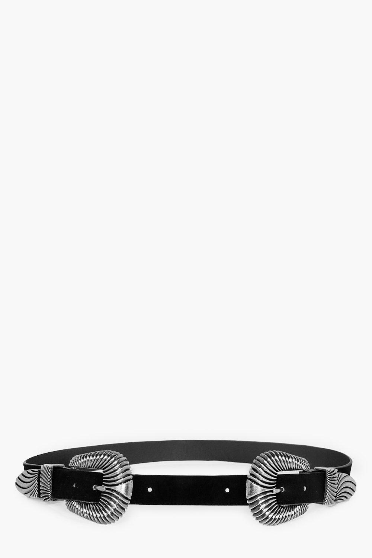 Oversized Double Buckle Waist Belt - black - Esme