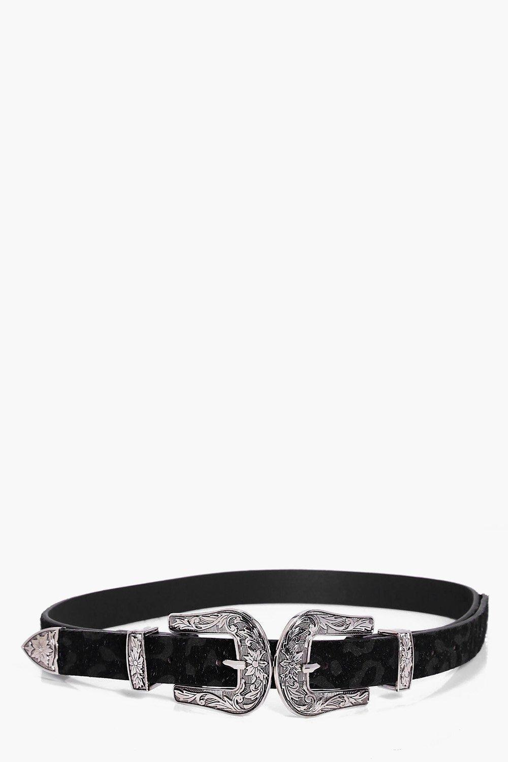 Faux Leopard Double Buckle Western Belt - black -