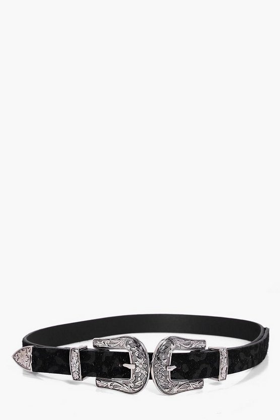 Tilly Faux Leopard Double Buckle Western Belt