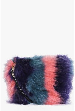 Emma Stripe Faux Fur Cross Body Bag