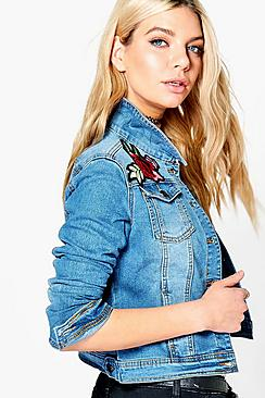 Lara Rose Embroidery Slim Fit Denim Jacket