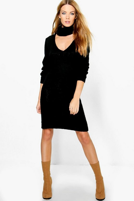 Karina Roll Neck Soft Knit Jumper Dress