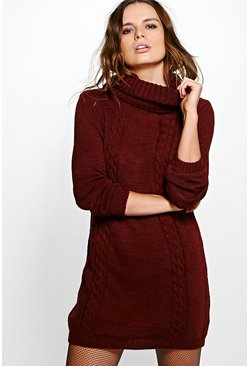 Scarlett Roll Neck Cable Jumper Dress