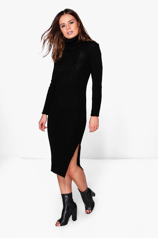 Roll Neck Rib Knit Jumper Dress  black