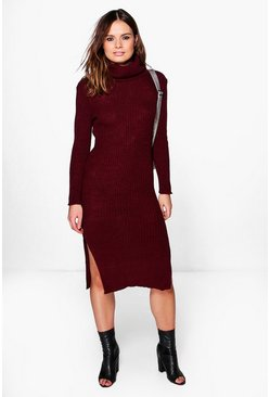 Rachel Roll Neck Rib Knit Jumper Dress