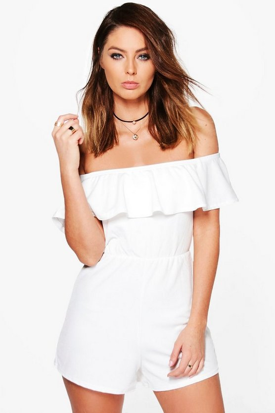 Rose Bandeau Frill Long Sleeve Playsuit