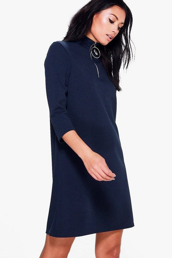 Nina Tailored Zip Detail Swing Dress