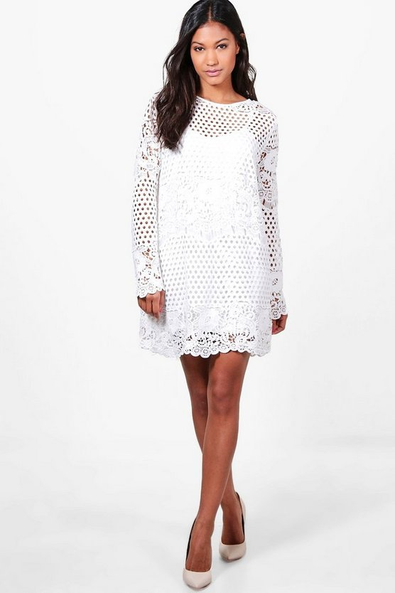 Boutique Lace Panelled Shift Dress