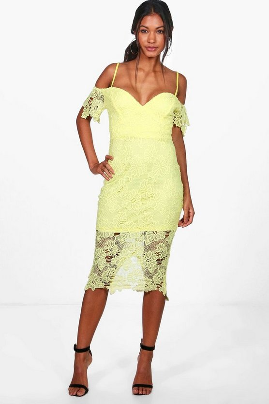 Boutique Mallory Corded Lace Midi Dress