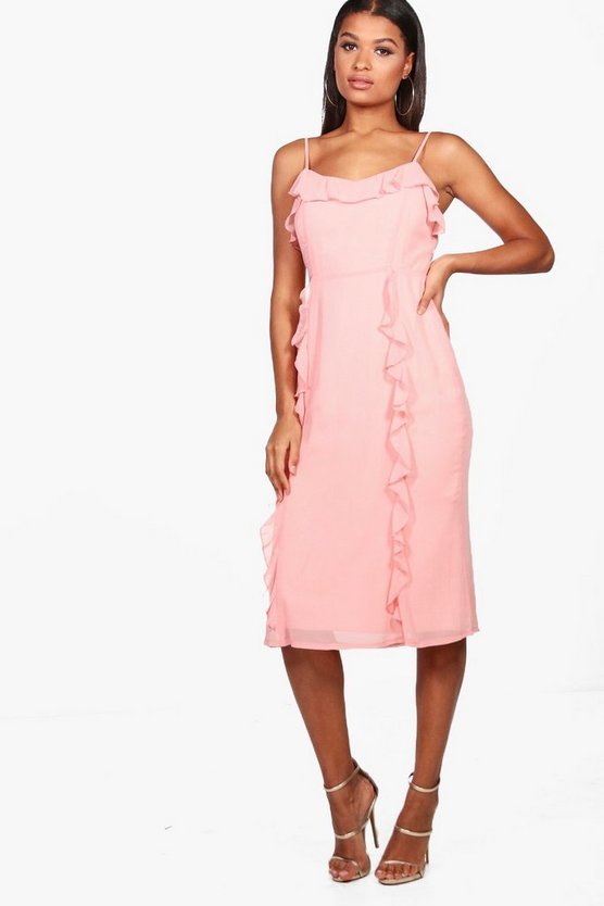 Orlaith Chiffon Strappy Ruffle Midi Dress