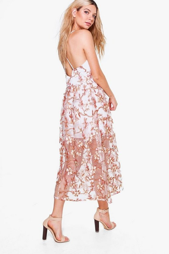 Boutique Pia Embroidered Midi Skater Dress