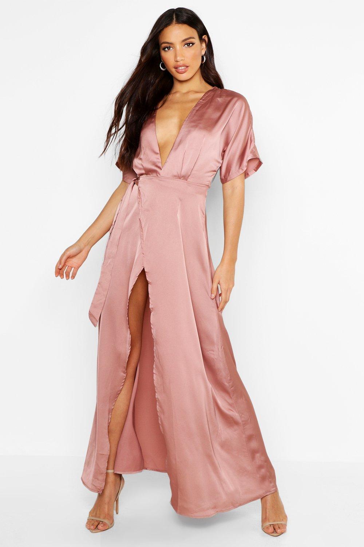 Boutique Melodie Satin Kimono Maxi Dress | Boohoo
