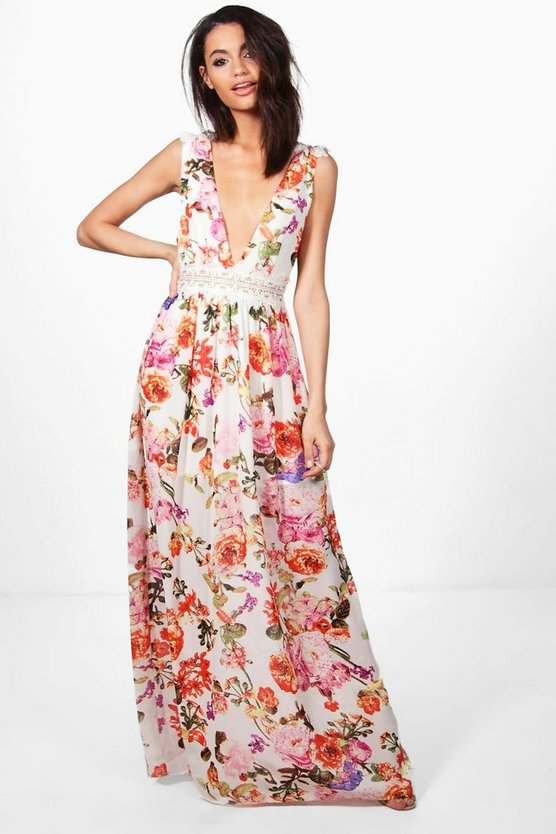 Marlowe Floral Lace Trim Maxi Dress